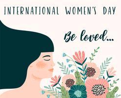 Dia Internacional da Mulher. Modelo de vetor com mulher e flores.