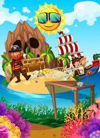 Pirata em uma ilha com tesouro vetor