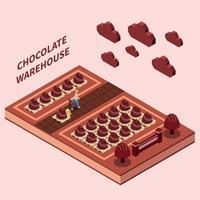 ilustração em vetor conceito design isomérico armazém de chocolate
