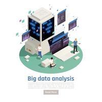 ilustração em vetor composição isométrica de análise de big data