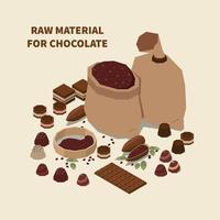 ilustração vetorial de fundo isomérico de chocolate vetor