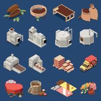 ilustração em vetor conjunto isomérico de produção de chocolate