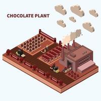 ilustração vetorial de fundo isomérico de planta de chocolate vetor