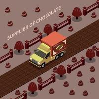 fornecedor de ilustração vetorial de fundo isomérico de chocolate vetor