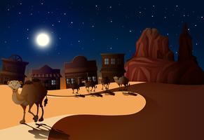 Cena do deserto à noite com camelos vetor
