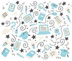 mão desenhado conjunto de elementos de educação online. ilustração vetorial. vetor