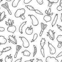 mão desenhada sem costura padrão de vegetais. ilustração vetorial. vetor