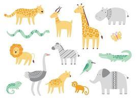 conjunto de animais de zoológico africanos fofos vetor
