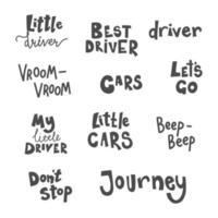 conjunto de letras infantis desenhadas à mão para t-shirt, design de cartão vetor