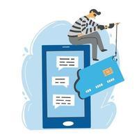 scammer online, conceito de hacker cibernético. ilustração vetorial. vetor