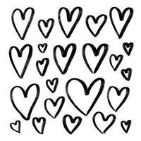 grande conjunto de ilustração vetorial de corações texturizados de mão desenhada grunge. vetor