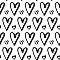 grunge mão desenhada corações sem costura padrão texturizado papel de parede de tinta preta vetor