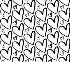 grunge mão desenhada corações sem costura padrão. plano de fundo texturizado. vetor