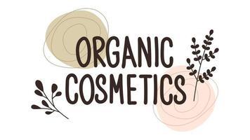 padrão de repetição sem costura com plantas. letras de cosméticos orgânicos. vetor