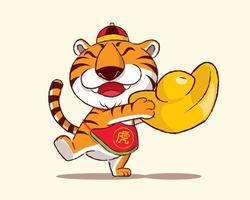 feliz ano novo chinês 2022. desenho animado bonito tigre segurando um grande lingote de ouro vetor