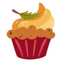 muffin de abóbora. sobremesa de outono. vetor