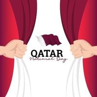 bandeira do Qatar. celebrações do dia da independência. modelo de banner. vetor