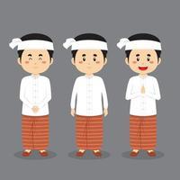 personagem myanmar com várias expressões vetor