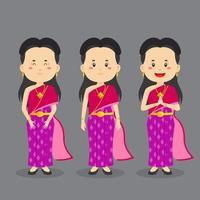 personagem da tailândia com várias expressões vetor