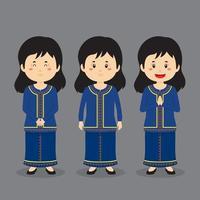 personagem de Singapura com várias expressões vetor
