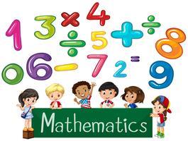 Números coloridos e crianças Matemática vetor