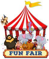 Uma feira de diversões com animais vetor