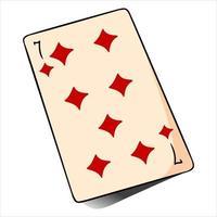 jogatina. cartão de jogo. cassino, sorte, fortuna. sete de pandeiros. vetor