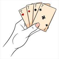 jogatina. cartas de jogar na mão. cassino, sorte, fortuna. quatro ases. vetor