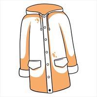 proteção contra chuva. capa de chuva com kormans e capuz. roupas de outono. vetor