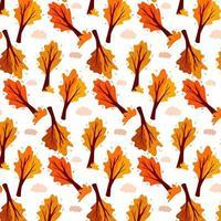 padrão de outono. árvore e nuvem abstratas do outono. planta ornamental. vetor