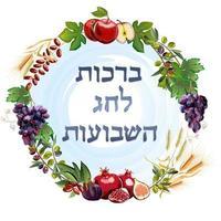 banner shavuot, estilo simples. elementos de design de coleção no feriado judaico shavuot com leite, fruta, toro, montanha, trigo, cesta. vetor