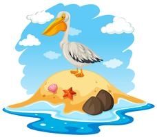 Pássaro de pelicano na pequena ilha vetor