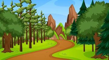 cena da floresta com várias árvores da floresta e caminho de passagem vetor