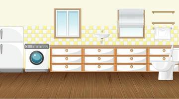 cena vazia com máquina de lavar e geladeira no banheiro vetor