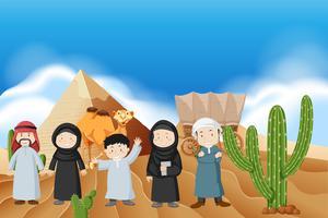 Povo árabe no deserto vetor