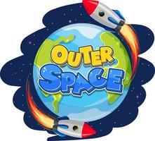 logotipo do espaço sideral com nave espacial vetor