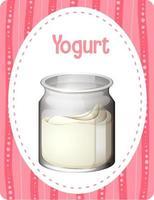 cartão de vocabulário com iogurte de palavras vetor
