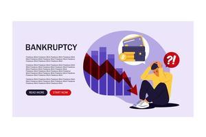 problemas financeiros e conceito de falência. página de destino. vetor