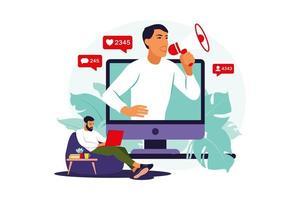blogueiro com alto-falantes anunciando novidades, atraindo público-alvo. vetor