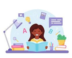pequeno livro de leitura de menina negra. garota fazendo lição de casa. de volta à escola vetor