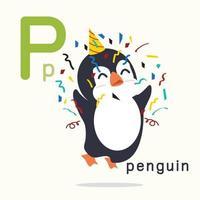 letra p alfabetos de pinguim para educação infantil vetor