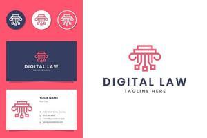 design de logotipo digital e law line art vetor