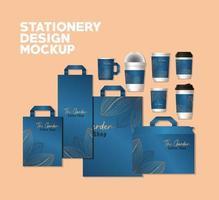 design de maquete de pacote completo de papelaria vetor