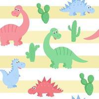 padrão de dinossauros com cacto no fundo do vetor de listras de areia