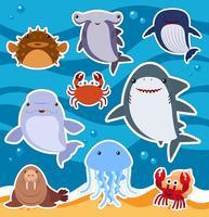 Design de etiqueta com animais marinhos fofos vetor