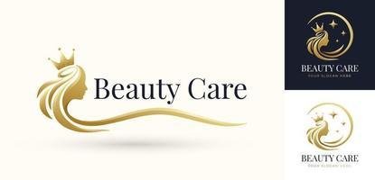 design do logotipo da rainha do cabelo da beleza vetor
