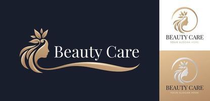 design de logotipo de cabelo floral de beleza vetor