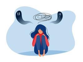 menina deprimida com ansiedade e fantasias assustadoras sentindo tristeza, vetor