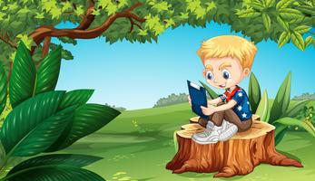 Menino, leitura, parque vetor