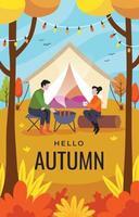 casal acampando na floresta de outono vetor